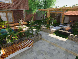 ROQA.7 ARQUITECTURA Y PAISAJE Balcon, Veranda & Terrasse rustiques