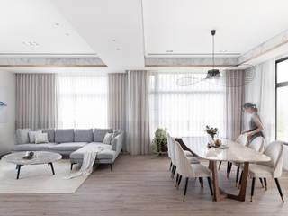 漢玥室內設計 Comedores de estilo moderno Mármol Acabado en madera