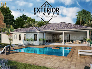 3D Architectural Rendering Residential House with backyard pool area by architectural design studio, Houston - Texas Yantram Architectural Design Studio