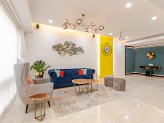 Interior Design at Worli Neha Dharkar Modern living room Multicolored