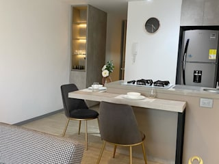 ea interiorismo Small kitchens Quartz Grey