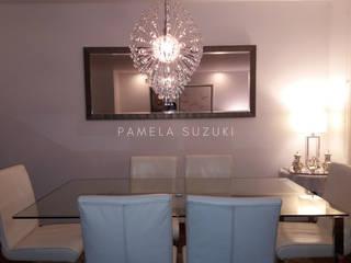 Remodelación de departamento - diseño y ejecución de obra Pamela Suzuki Comedores de estilo moderno Vidrio Blanco