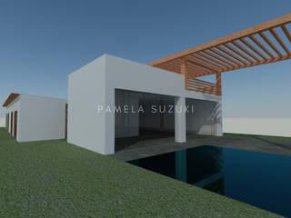 Diseño arquitectónico e interiores de casa campo Pamela Suzuki Casas de campo Concreto Blanco