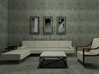 Diseño arquitectónico e interiores de casa campo Pamela Suzuki Salas modernas Concreto Gris