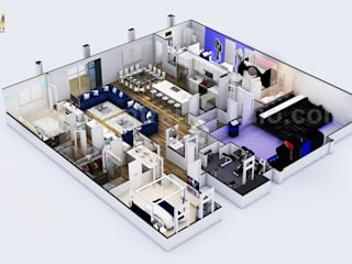 Modern Style 3D Floor Plan Design with theater-kids room-game zone by 3d architectural design, Houston, Texas Yantram Architectural Design Studio Classic style bathrooms
