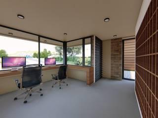 CONCEPTUAL ESTUDIO + ARQUITECTURA SAS Modern study/office Concrete Beige
