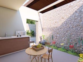 CONCEPTUAL ESTUDIO + ARQUITECTURA SAS Terrace house Stone Beige