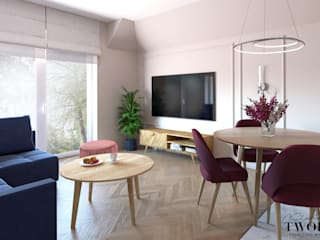 Klaudia Tworo Projektowanie Wnętrz Sp. z o.o. ห้องทานข้าว Pink