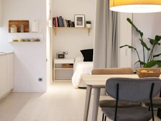 Un loft sostenible en el centro de Valencia Arquitectura Sostenible e Interiorismo | a-nat Dormitorios de estilo moderno Blanco