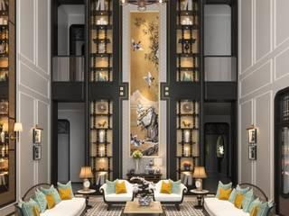 Mẫu thiết kế phòng khách Indochine độc đáo nhưng không kém phần sang trọng CÔNG TY CP THIẾT KẾ NỘI THẤT ICON Living roomSofas & armchairs