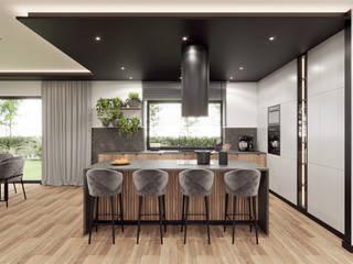 Wkwadrat Architekt Wnętrz Toruń Built-in kitchens Wood Black
