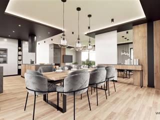 Wkwadrat Architekt Wnętrz Toruń Industrial style dining room Wood Black