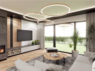 Wkwadrat Architekt Wnętrz Toruń Industrial style living room Concrete Wood effect