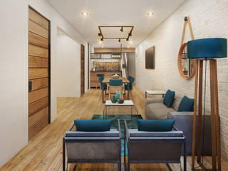 Residencia SB [San Francisco del Rincon, Gto.] 3C Arquitectos S.A. de C.V. Salones modernos Ladrillos Blanco