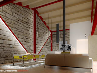 Casa GC Laboratorio di Progettazione Claudio Criscione Design Soggiorno in stile industriale