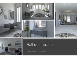 Anny Maciel Interiores - Casa Cor de Riso Pasillos, vestíbulos y escaleras de estilo minimalista Blanco