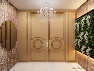 Camila Pimenta   Arquitetura + Interiores Classic style corridor, hallway and stairs Engineered Wood Amber/Gold