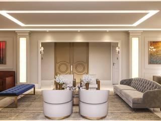 Camila Pimenta   Arquitetura + Interiores Classic style living room Engineered Wood Beige