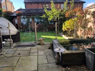 Glass Balustrade with glass gate in Manchester Origin Architectural Front yard Glass Transparent