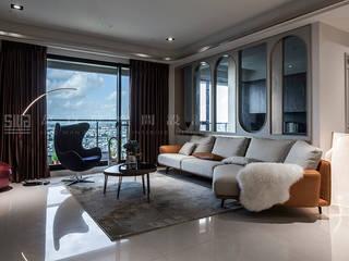臺邦建設 │ 悅世界 SING萬寶隆空間設計 现代客厅設計點子、靈感 & 圖片