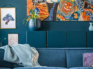 Pure & Original Scandinavian style living room Blue