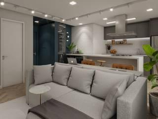 Studio M Arquitetura Modern Living Room Blue