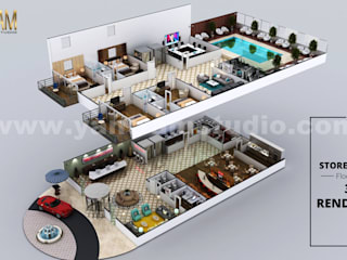 Hotel 3D Virtual Floor Plan Rendering With Beautiful Backyard Pool Landscaping by Architectural Modeling Firm, San Diego, California Yantram Architectural Design Studio 地板