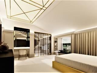 Sypialnia w kolorach beżu livinghome wnętrza Katarzyna Sybilska Nowoczesna sypialnia