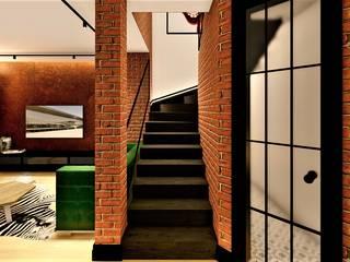Projekt młody jak lokator livinghome wnętrza Katarzyna Sybilska Nowoczesny korytarz, przedpokój i schody