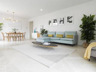 Home Staging piso piloto de lujo en Madrid Theunissen Staging y Decoración SL Salones de estilo ecléctico Mármol Turquesa