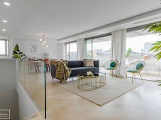 Home staging para ático en Madrid con nuestros muebles de alquiler Theunissen Staging y Decoración SL Salones de estilo ecléctico