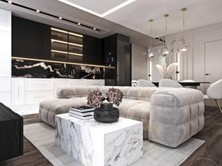 Mieszkanie w odcieniach kawy Ambience. Interior Design Nowoczesny salon
