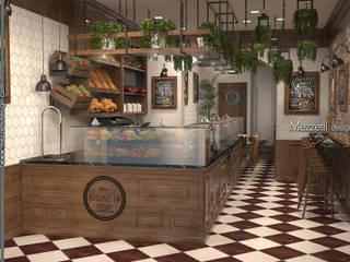 Bistrot Mezzettidesign Sala da pranzo in stile rustico Legno Effetto legno