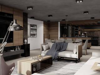 Apartamento AC- G8 HC Arquitecto Salones industriales Madera Gris