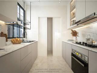 Singapore Carpentry Interior Design Pte Ltd Built-in kitchens Marble White