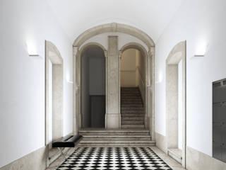 MA.TERIA. REHAB. MADALENA 95 MA.TERIA. ARCHITECTURE SOLUTIONS Corredores, halls e escadas clássicos Pedra