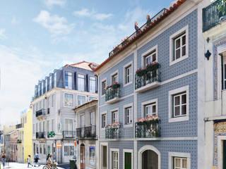 MA.TERIA. REHAB. OURIQUE 3 MA.TERIA. ARCHITECTURE SOLUTIONS Condomínios Azulejo Azul
