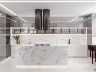 Camila Pimenta   Arquitetura + Interiores Modern Kitchen Marble Grey