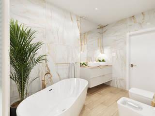 Wkwadrat Architekt Wnętrz Toruń Classic style bathroom Copper/Bronze/Brass Amber/Gold