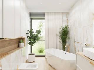 Wkwadrat Architekt Wnętrz Toruń Classic style bathroom Marble Wood effect