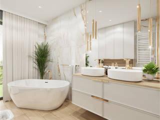 Wkwadrat Architekt Wnętrz Toruń Classic style bathroom Marble Amber/Gold