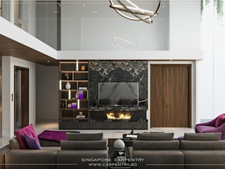 Singapore Carpentry Interior Design Pte Ltd Living room Marble Black