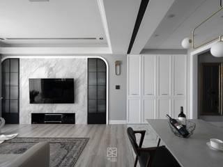 禾廊室內設計 Salas de estar clássicas Mármore
