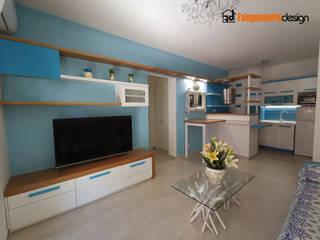 Soggiorno con cucina di una casa al mare Falegnamerie Design Soggiorno moderno Legno Bianco