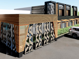JOTARCO ARQUITECTURA Y CONSTRUCCION Minimalist style conservatory Wood-Plastic Composite Wood effect