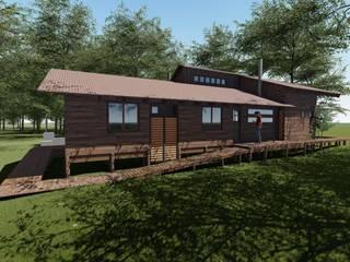 Cabaña Bosques de Lircay 96.88 m2 Nave + Arquitectura & Modelación Paramétrica Casas de estilo rural Acabado en madera