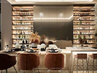 Singapore Carpentry Interior Design Pte Ltd Modern dining room Marble Amber/Gold