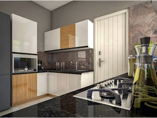 Our creative executions of site interior room areas... Monnaie Interiors Pvt Ltd KitchenKitchen utensils Wood Wood effect