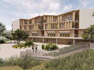 Edificio de Viviendas Sostenibles en Menorca Arquitectura Sostenible e Interiorismo | a-nat Casas de estilo mediterráneo Cerámico Marrón