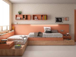 DECORACIÓN DORMITORIO JUVENIL BORONIA HOME Dormitorios de estilo moderno Tablero DM Blanco
